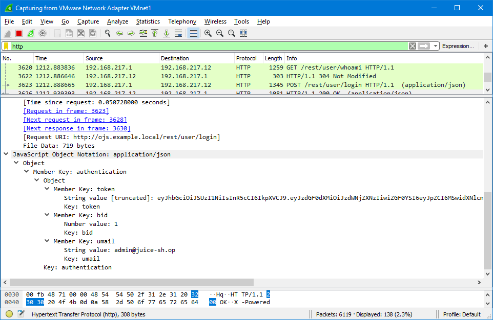 Intercepting the API server's response using the Wireshark application