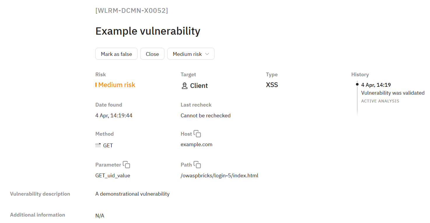 Detailed description of the vulnerability on the Wallarm web interface