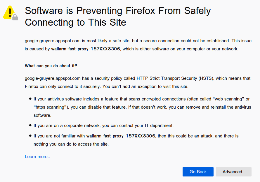 Mozilla Firefox's untrusted certificate message