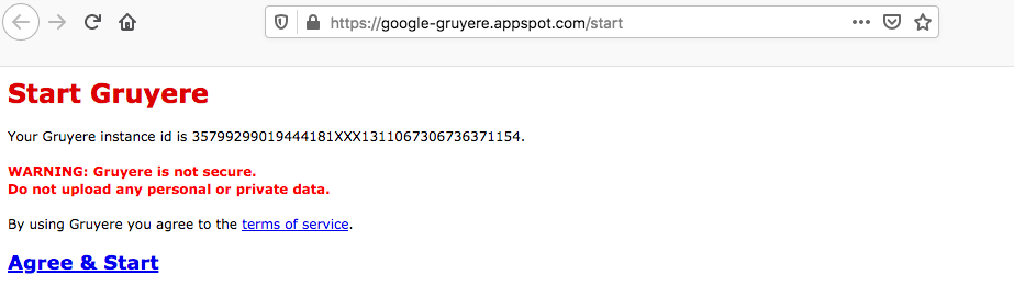 Google Gruyere start page